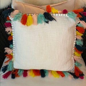 Multi Tassel Throw Pillow